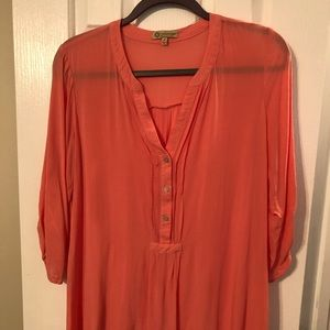 Coral color boho style top